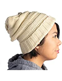 Winter Hat for Women Slouchy Beanie Hat Chunky Knit Stocking Cap Soft Warm  Cute 9a7b7cc1a121