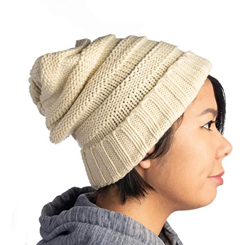 DG Hill Winter Hat for Women Slouchy Beanie Hat Chunky Knit Stocking Cap Soft Warm Cute Cream