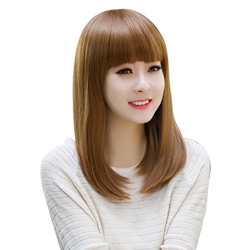 invisible trace in the hair fashion full wig women girls female round face long straight hair wig full bangs realistic air