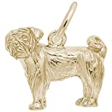 Gold Plated Pug Charm, Charms for Bracelets and Necklaces