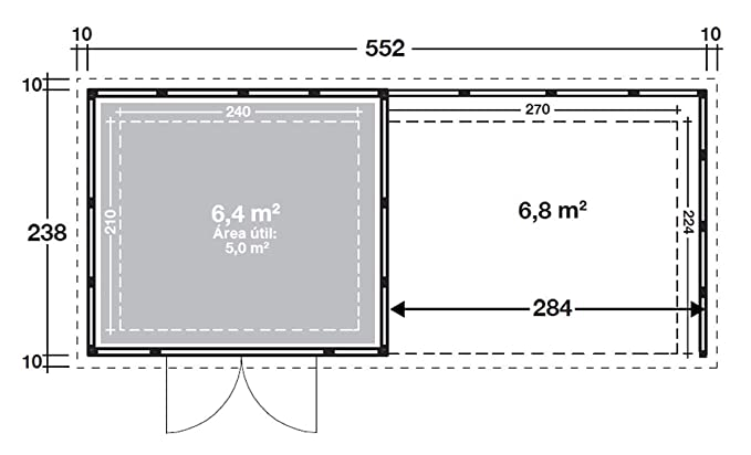 NOVO HABITAT Caseta de Jardin metálica NH6 con Apoyo | Gris Claro | (268 x 238) + (284 x 238): Amazon.es: Jardín