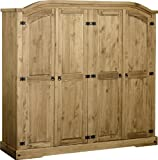 Seconique Corona 4 Door Wardrobe, Distressed Waxed Pine, 479.95x1694.95x89.95 cm