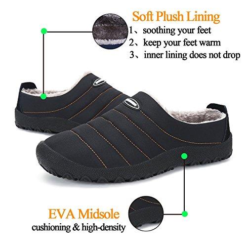 Men Fur Waterproof Black Slippers Shoes House Clog Winter Lined Indoor Women Outdoor awxqZdZf