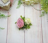 Blush ivory flower comb Bride heapiece floral Boho wedding hair piece for girl women Small comb