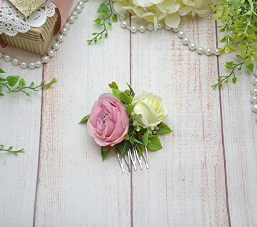 Blush ivory flower comb Bride heapiece floral Boho wedding hair piece for girl women Small comb by OlgasCreativeStudio