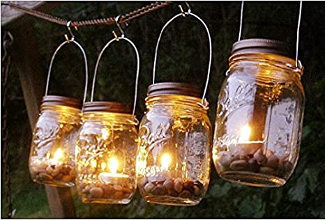 Mason Jar Outdoor Lights Amazon mountain woman products four glass clear mason jar mountain woman products four glass clear mason jar lanterns light candle holder outdoor lighting workwithnaturefo