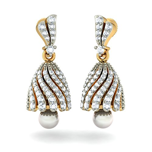 Or jaune 18 K 0,93 CT TW White-diamond (IJ | SI) et blanc perle Pendants d'oreilles