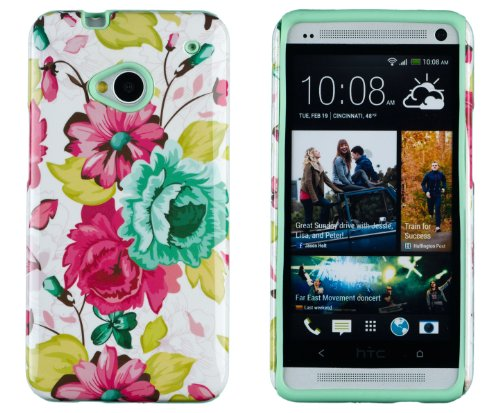 DandyCase 2in1 Hybrid High Impact Hard Pink Floral - Htc One M7 Phone Case