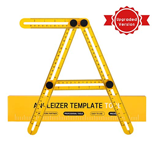 Multi Angle Measuring Ruler, Angleizer Template Tool- Measures All Angles Shapes, Function Universal Square Layout Tools Easy Use for Handymen, Builders, Craftsmen ABS Ruler (Yellow) (Aluminum Universal)