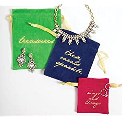 8 Oak Lane EG001V Jewelry Pouch-Velvet Set of 3, Multi