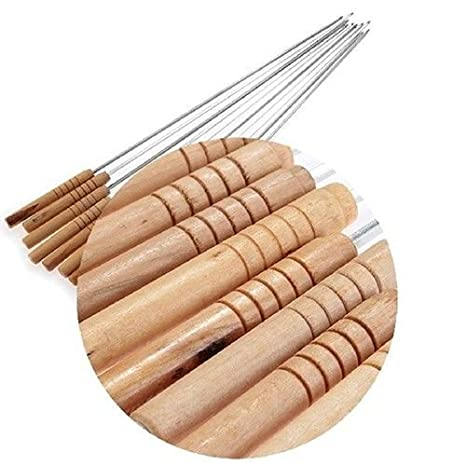 Generic Barbecue Skewers 12 Set of Stainless Steel with Wood Handle Roasting Sticks