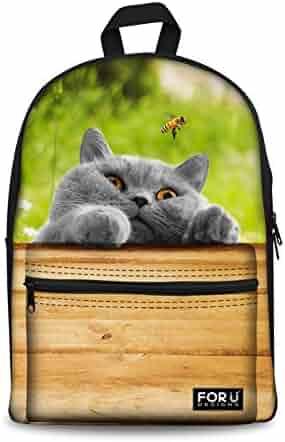 Cute Animal School Bag for Teens Dog Cat Backpack Girls Thick Print Daypack 617b839d3d7d3