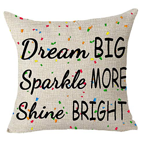 FELENIW Dream Big Sparkle More Shine Bright Colored Confetti Encouraged Quote Throw Pillow Cover Cushion Case Cotton Linen Material Decorative 18x18 inches]()