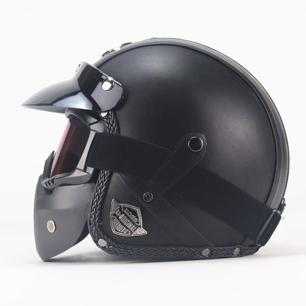 Handgefertigter Vorhauthalbhelm Retro Helm Herren Und Damen Color : A, Size : M 3//4 Lederhelm Motorradhelm XDBY Motorradhelm