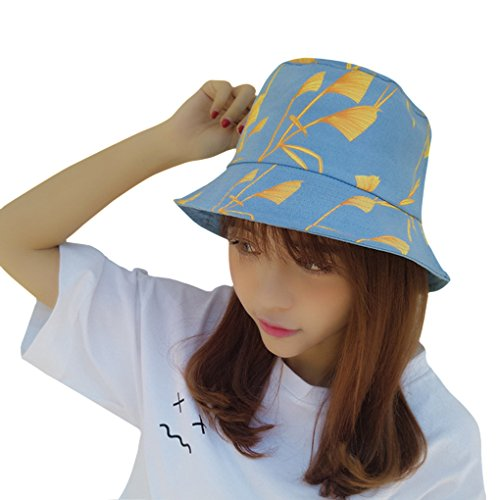 Women's Ladies Girls Cute Printing Cotton Fishing Hunting Beach Travel Sun Hat Anti-UV Sun Protection Foldable Summer Outdoor Fisherman Flat Bucket Boonie Hat Wide Brim Cap UPF 50+ Visor Topee