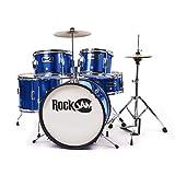 RockJam RJ105-MB Complete 5-Piece Junior Drum Set with Adjustable Throne & Accessories, Metallic Blue