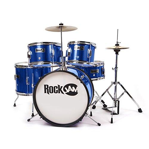 rockjam-rj105-mb-complete-5-piece-junior-drum-set-with-adjustable-throne-accessories-metallic-blue