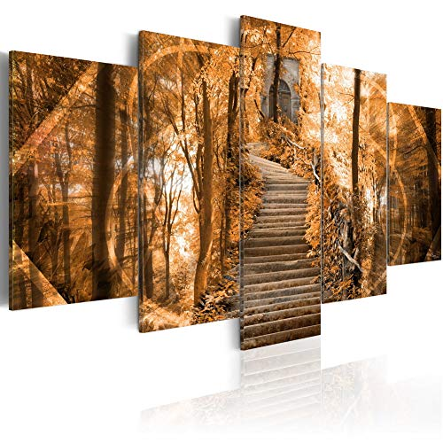 Heavens Doors Canvas Wall Art Modern Orange Landscape Prints Picture Forest Painting 5pcs HD Artwork Framed Home Decor Ready to Hang (CY23, Small W40