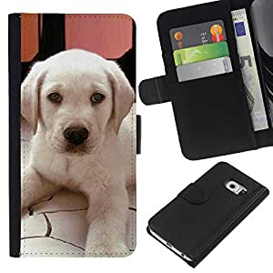 Stuss Case / Funda Carcasa PU de Cuero - Labrador Small Puppy Dog Canine - Samsung Galaxy S6 EDGE