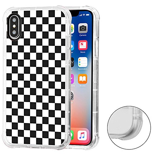 Checkers Protector Case (Corner Guard Case for Apple iphone X, One Tough Shield Premium Shock Absorbing TPU Protector Phone Case - Checker B/W)