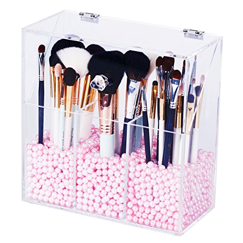 Newslly Clear Acrylic Makeup Organizer with 3 Brush Holder Compartment and Dustproof Lid, Cosmetic Brush Storage Box with Pink Pearls, for Bathroom Bedroom Vanity (Clear Acrylic Lid Organizer)