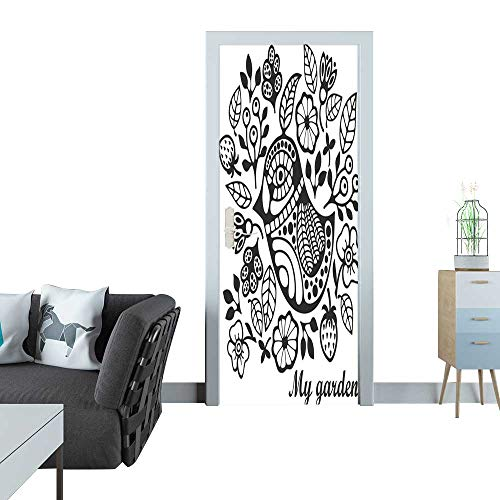 Anmaseven Door Sticker Page for Coloring with Bird and Flowers Door Sticker Mural 27x59(69x150 cm)