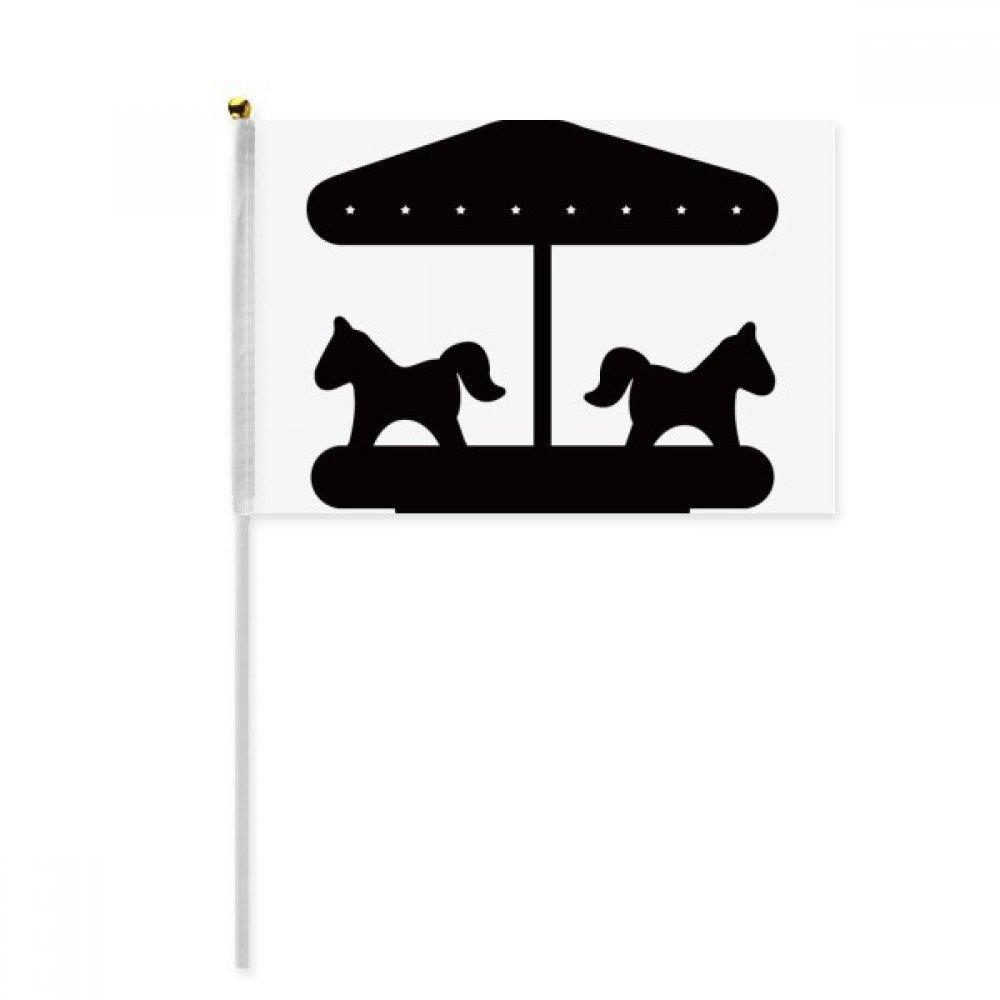 Black Carousel Amusement Park Silhouette Hand Waving Flag 8x5 inch Polyester Sport Event Procession Parade 4pcs