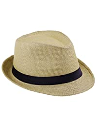 0a5f69a8472 EOZY Women Men Wheat Fedora Trilby Gangste Summer Beach Sun Straw Panama Hat