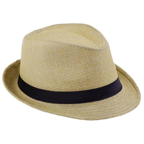 EOZY Women Men Wheat Fedora Trilby Gangste Summer Beach Sun Straw Panama Hat
