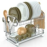 #9: 2 Tier Dish Rack, Packism Dish Drying Rack with Drain Board Tray Cutlery Holder Large Capacity Kitchen Cup Dish Drainer with Cutting Board Utensil Holder, Silver