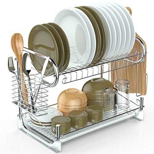 Packism Dish Drying Rack, 2 Tier Dish Rack with Drain Board