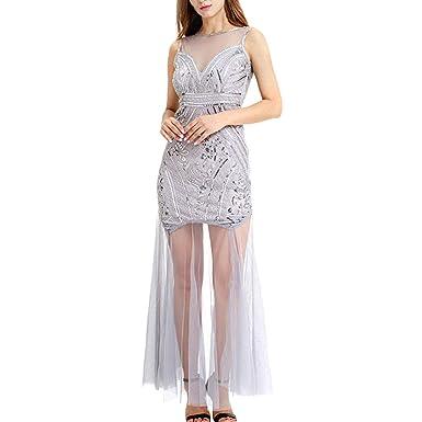 Vestido Cóctel Mujer Eleghant Sin Mangas con Lentejuela Faldas ...