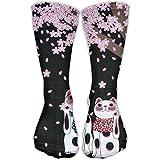 Funny Fortune Cat Girls Dress Socks Womens Crew Socks