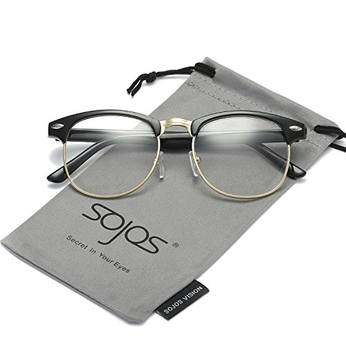 SojoS Clubmaster Semi Rimless Polarized Sunglasses Clear Lens Eyeglasses SJ5018 With Bright Black Frame/Gold - Clubmaster Prescription