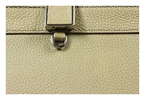 Schöne praktische Leder Blaue Handtasche aus Leder Giovanna Blu Scura in der Hand Grün R6J1qK