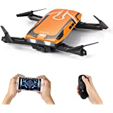 Foldable Mini RC drone, Furibee H818 FPV Wifi Drone 720P Camera with 2.4G One Key Start Flight for Kids & Beginner 3D Flips Helicopter and Headless Mode Quadcopter Orange (Orange)
