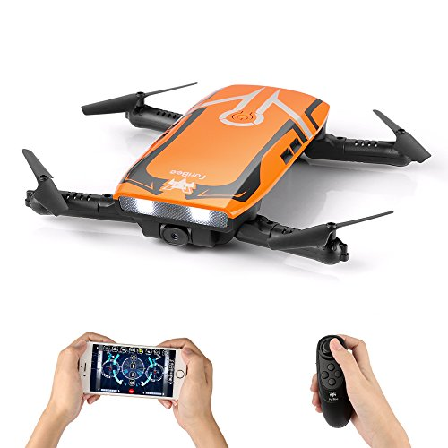 RC Quadcopter with 720P HD Wi-Fi Camera, FPV Mini Drone H818 Selfie Drone Foldable with Protective Case Gravity Sensor Control Altitude Hold for Kids and Beginners (Orange) by FuriBee