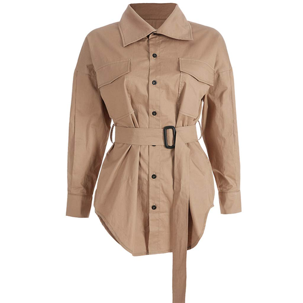 Redacel Women Fashion Windbreaker Casual Long Sleeve Jacket Belt Overalls Tops Blouse Coat(L,Khaki) by Redacel