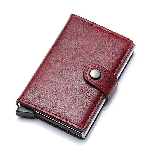 Meeto Credit Card Holder RFID Blocking Wallet Slim Wallet Genuine Leather Vintage Aluminum Business Card Holder Automatic Pop-up Card Case Wallet Security Travel Wallet (Burgundy)