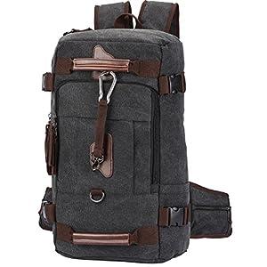 Travel Backpack, Aidonger Vintage Canvas Hiking Daypack Shoulder Bag 15'' Laptop Backpack(Black-58)