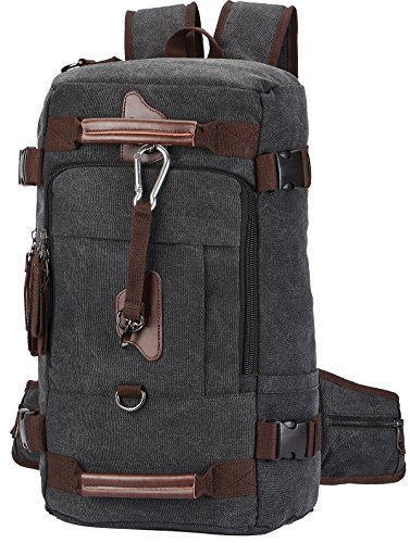 Travel Backpack, Aidonger Vintage Canvas Hiking Daypack Shoulder Bag 15'' Laptop Backpack(Black-58)