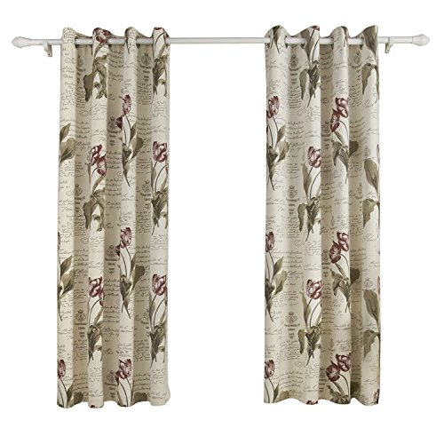 - ChadMade Polyester Cotton Blend Flower Letter Printed Blackout Lined Curtain Drape Silver Nickel Grommet 72Wx84L Inch (1 Panel) SOFITEL for Bedroom | Living Room | Club | Restaurant