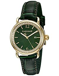 Thomas Earnshaw Women's 'Investigator' Swiss Quartz Stainless Steel and Leather Dress Watch, Color:Green (Model: ES-0030-03)