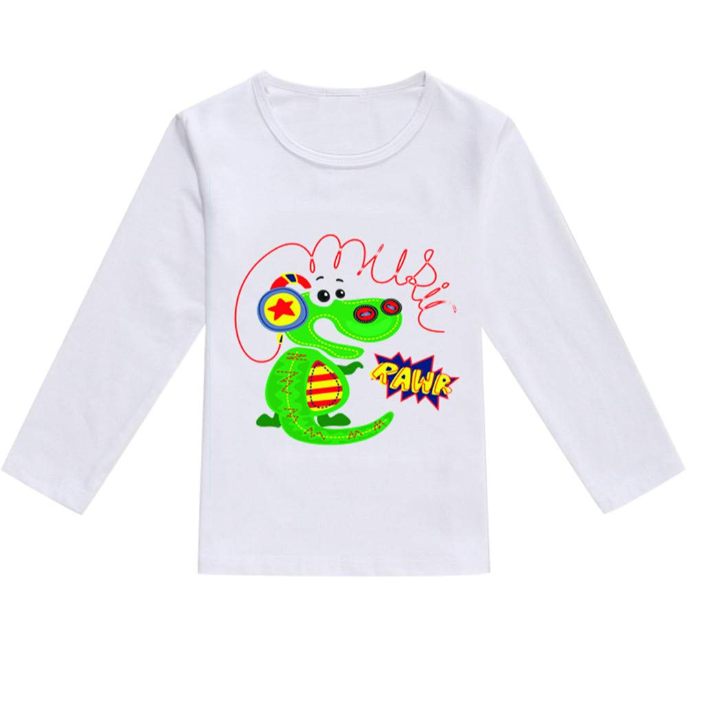 NUWFOR Toddler Baby Kids Boys Girls Spring Cartoon Print Tops T-Shirt Casual Clothes(Green,18-24 Months)