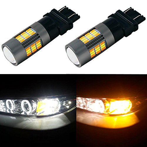 Alla Lighting Newest 4014 62-SMD Super Bright 3157 4157NA T25 LED Switchback Bulbs Dual Color White Yellow Lamps Replacement for Turn Signal Blinker Light (3157/T25) (2011 Honda Civic Led Turn Signal)