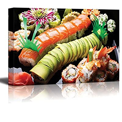 Canvas Prints Wall Art - Assorted Japanese Sushi on a Black Plate   Modern Wall Decor/Home Decoration Stretched Gallery Canvas Wrap Giclee Print. Ready to Hang -32