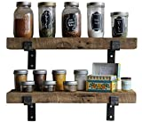 Reclaimed Wood Accent Shelves Rustic Industrial - Amish Handcrafted in Lancaster County, PA - Set of Two | 24 Inches, (Genuine Salvaged/Reclaimed with Raw Metal Brackets) (Natural 24''x 7''x 2'')