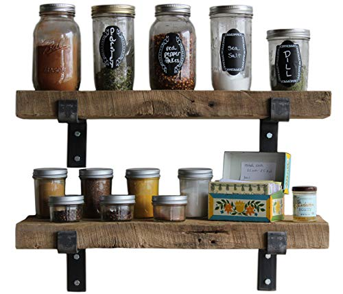 Reclaimed Wood Accent Shelves Rustic Industrial - Amish Handcrafted in Lancaster County, PA - Set of Two | 24 Inches, (Genuine Salvaged/Reclaimed with Raw Metal Brackets) (Natural 24''x 7''x 2'') by Urban Legacy