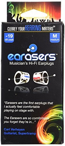 - Earasers Musicians Plugs Medium with Waterproof Stash Can Case( Assorted Colors, Red or Blue)