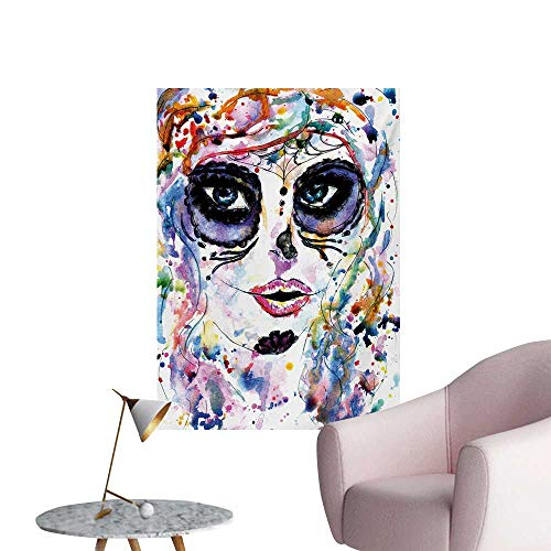 Anzhutwelve Sugar Skull Home Decor Wall Halloween Girl with Sugar Skull Makeup Watercolor Painting Style Creepy LookMulticolor W32 xL36 Poster Print